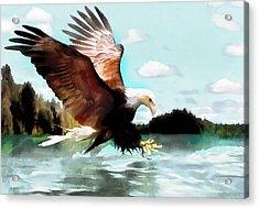 Bald Eagle Painting Watercolor Fine Art Print Acrylic Print by Vya Artist
