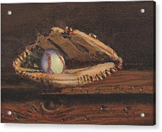 Ball And Glove Acrylic Print by Bill Tomsa