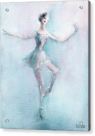 Ballerina Pastel Pink And Blue Acrylic Print by Beverly Brown Prints