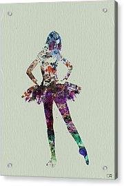 Ballerina Watercolor Acrylic Print by Naxart Studio