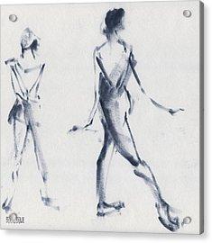 Ballet Sketch Tendu Back Acrylic Print by Beverly Brown