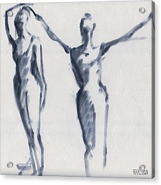 Ballet Sketch Two Dancers Arms Overhead Acrylic Print by Beverly Brown Prints