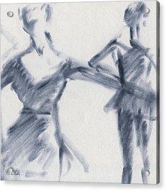 Ballet Sketch Two Dancers Gaze Acrylic Print by Beverly Brown Prints