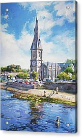 Ballina Cathedral On River Moy Acrylic Print by Conor McGuire