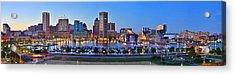 Baltimore Skyline Inner Harbor Panorama At Dusk Acrylic Print by Jon Holiday