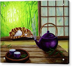 Bamboo Morning Tea Acrylic Print by Laura Iverson