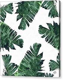 Banan Leaf Watercolor Acrylic Print by Uma Gokhale