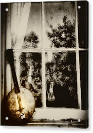 Banjo Mandolin In The Window In Black And White Acrylic Print by Bill Cannon