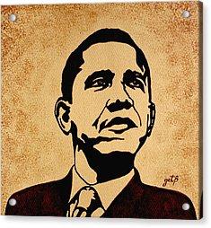 Barack Obama Original Coffee Painting Acrylic Print by Georgeta  Blanaru