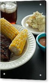 Barbecue Pork Spare Ribs With Corn And Potato Salad Acrylic Print by Erin Cadigan