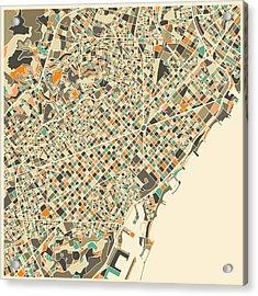 Barcelona Map Acrylic Print by Jazzberry Blue