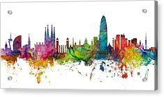 Barcelona Spain Skyline Panoramic Acrylic Print by Michael Tompsett