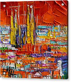 Barcelona View From Parc Guell - Abstract Miniature Acrylic Print by Mona Edulesco