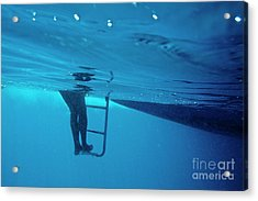 Bare Legs Descending Underwater From The Ladder Of A Boat Acrylic Print by Sami Sarkis