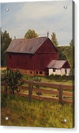 Barn And Milk House Acrylic Print by Betty Pimm