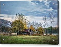 Barn On A Misty Morning Acrylic Print by James Barber