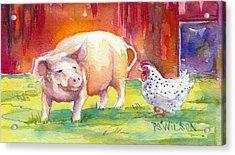 Barnyard Conversations Acrylic Print by Peggy Wilson