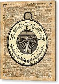 Barometer Vintage Tool Dictionary Art Acrylic Print by Jacob Kuch