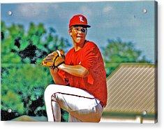 Baseball Pitcher Acrylic Print by Marilyn Holkham