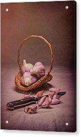 Basket Of Garlic Still Life Acrylic Print by Tom Mc Nemar