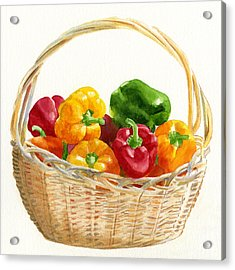 Basket Of Peppers Square Design Acrylic Print by Sharon Freeman