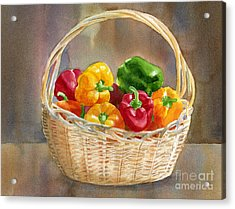 Basket Of Yellow Green And Red Peppers Acrylic Print by Sharon Freeman