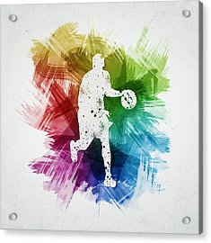 Basketball Player Art 16 Acrylic Print by Aged Pixel