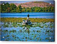 Bass Fishing Acrylic Print by Bill Cannon