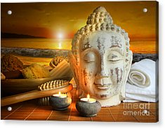 Bath Accessories With Buddha Statue At Sunset Acrylic Print by Sandra Cunningham