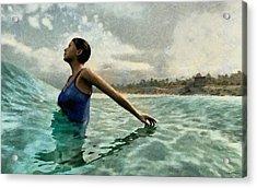 Bather Painted Acrylic Print by Cynthia Decker