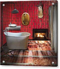 Bathroom Retro Style Acrylic Print by Setsiri Silapasuwanchai