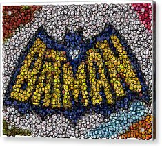 Batman Bottle Cap Mosaic Acrylic Print by Paul Van Scott