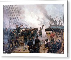 Battle Between Kearsarge And Alabama Acrylic Print by War Is Hell Store