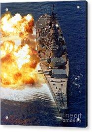 Battleship Uss Iowa Firing Its Mark 7 Acrylic Print by Stocktrek Images