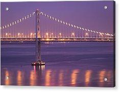 Bay Bridge At Dusk Acrylic Print by Sean Duan