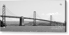 Bay Bridge In Black And White Acrylic Print by Carol Groenen