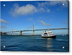 Bay Bridge Ship San Francisco Acrylic Print by Andrew Dinh