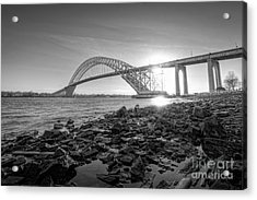 Bayonne Bridge Black And White Acrylic Print by Michael Ver Sprill