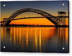 Bayonne Bridge Sunset Acrylic Print by Susan Candelario