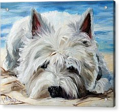 Beach Bum Acrylic Print by Mary Sparrow