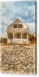 Beach Cottage Pencil Acrylic Print by Edward Fielding