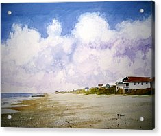 Beach Cottages Acrylic Print by Shirley Braithwaite Hunt