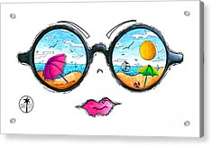 Beach Day Sunglass Design From The Sunnie Tees 2016 Collection Acrylic Print by Megan Duncanson