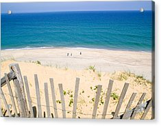 beach fence and ocean Cape Cod Acrylic Print by Matt Suess