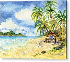 Beach House Cottage On A Caribbean Beach Acrylic Print by Audrey Jeanne Roberts