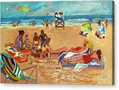 Beach In August Acrylic Print by Betty Pieper