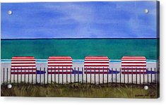 Beach Stripes Acrylic Print by Cory Clifford