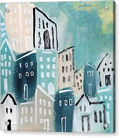 Beach Town- Art By Linda Woods Acrylic Print by Linda Woods