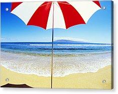 Beach Umbrella Acrylic Print by Carl Shaneff - Printscapes