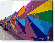 Beach Umbrella Row Acrylic Print by David Lee Thompson